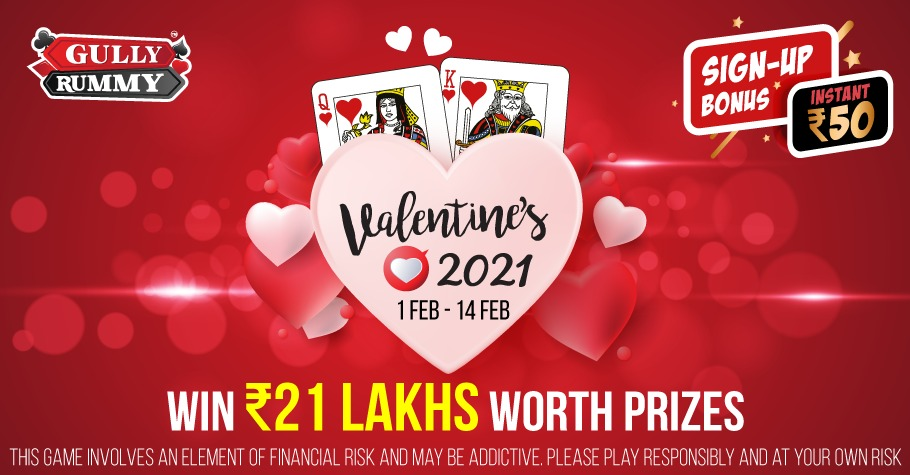 Gully Rummy gives players prizes worth INR 21 Lakh and an Instant Sign-up Bonus of INR 50. Check out other rewards that players can win everyday.Gully Rummy gives players prizes worth INR 21 Lakh and an Instant Sign-up Bonus of INR 50. Check out other rewards that players can win everyday.