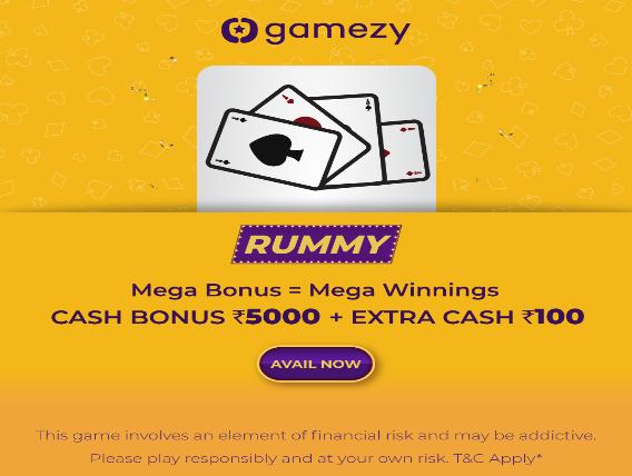 Gamezy Rummy Welcome Bonus