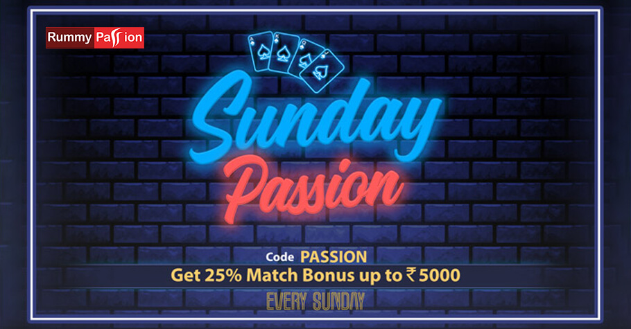 Rummy Passion's Sunday Passion Promotion Offers A Match Bonus Of Up to ₹5,000