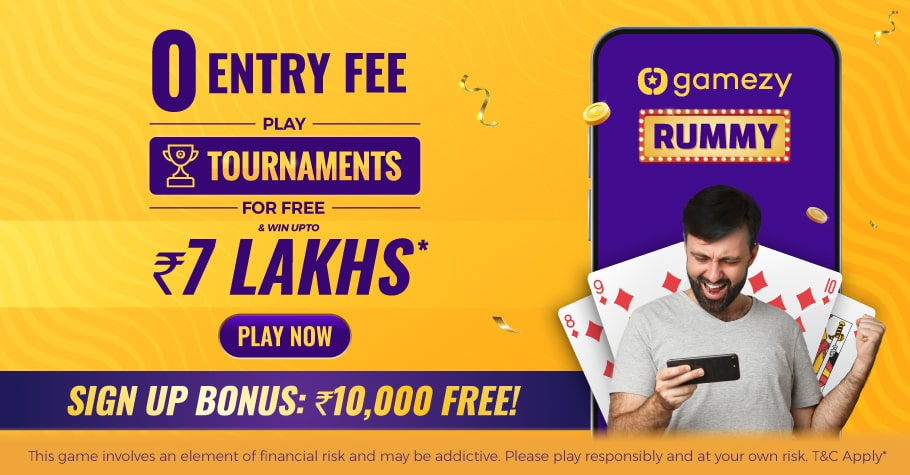 Sign-Up On Gamezy Rummy & Avail A Bonus Of ₹10,000